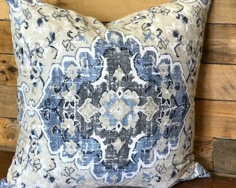Mosaic Tan, Denim, Navy Decorative Throw Pillow Cover   16 x 16, 18 x 18, 14 x 22, 22 x 22, 24 x 24, 26 x 26