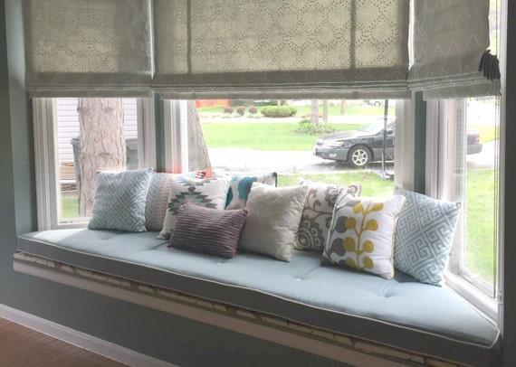 Custom Sewn Trapezoid Bay Window Seat Cushion With Cording Etsy