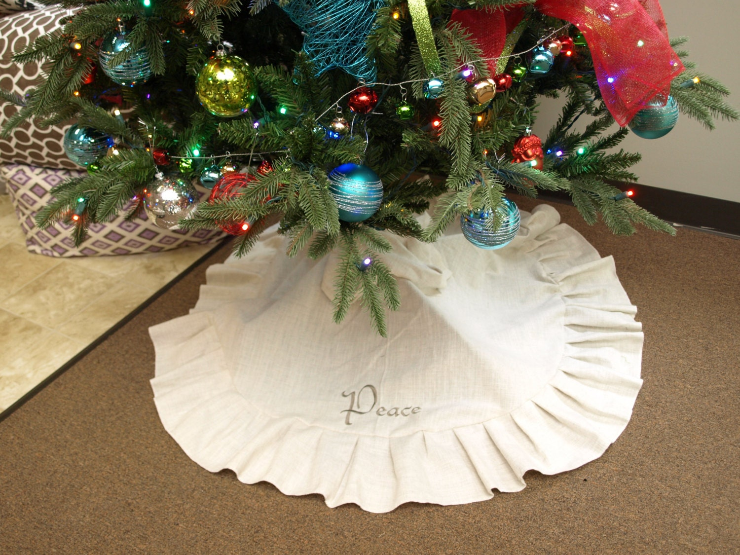 Monogrammed Burlap Linen Farmhouse Christmas Tree Skirt
