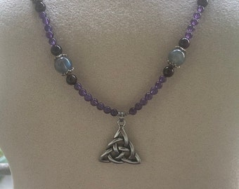 Amethyst and labradorite Celtic knot necklace