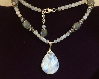 Rainbow moonstone and labradorite necklace