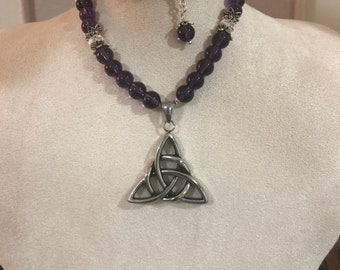 Amethyst and crystal Celtic knot necklace with sterling silver accents