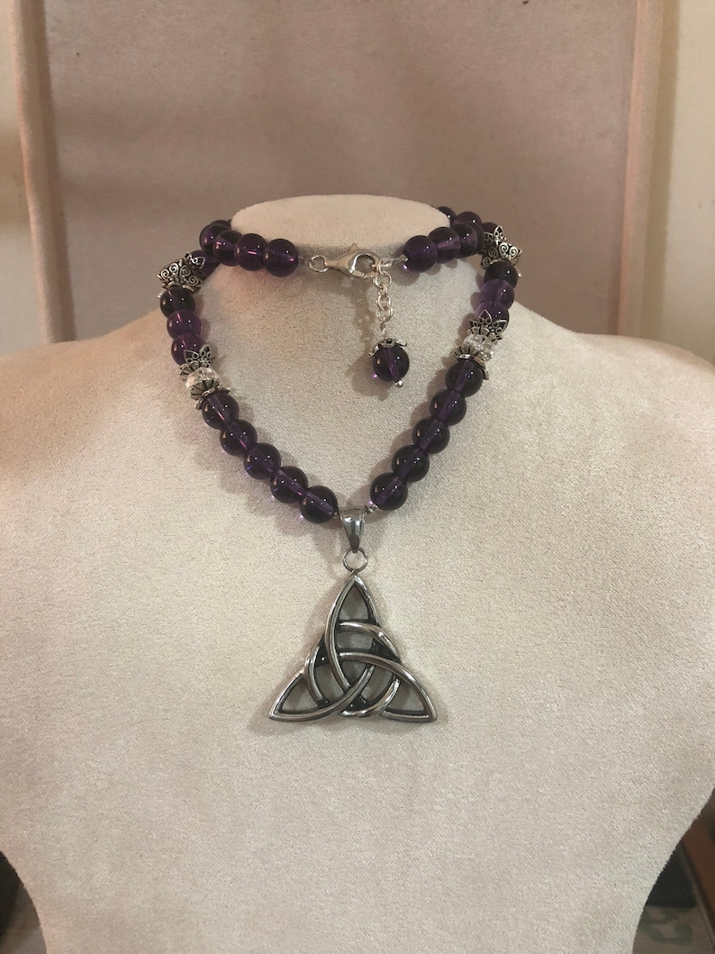 Amethyst and crystal Celtic knot necklace with sterling silver image 0