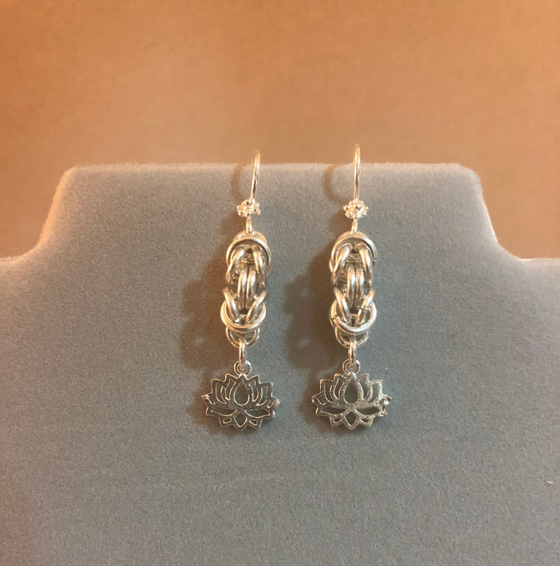Sterling silver byzantine earrings with lotus flower image 0