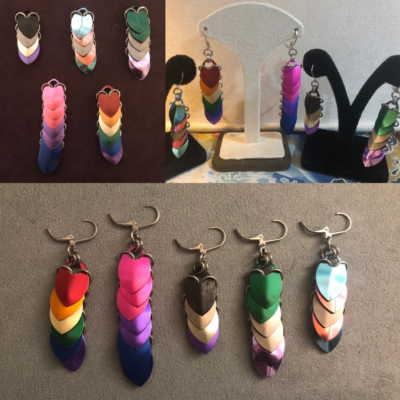 LGBTQ made to order scale drop earrings image 0