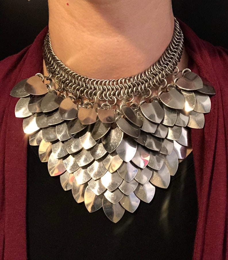Stainless steel scale necklace image 0