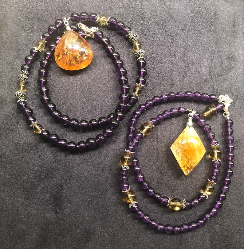 Amethyst and Citrine necklace image 0