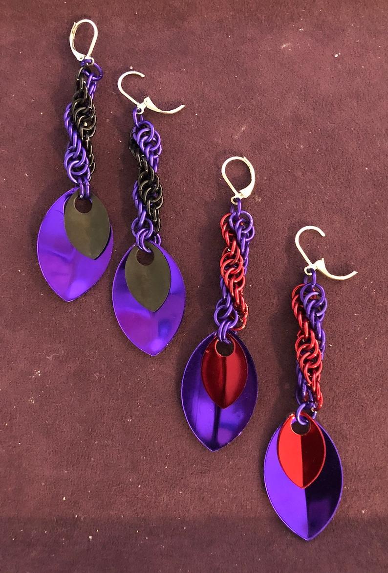 Anodized aluminum double helix earrings image 0