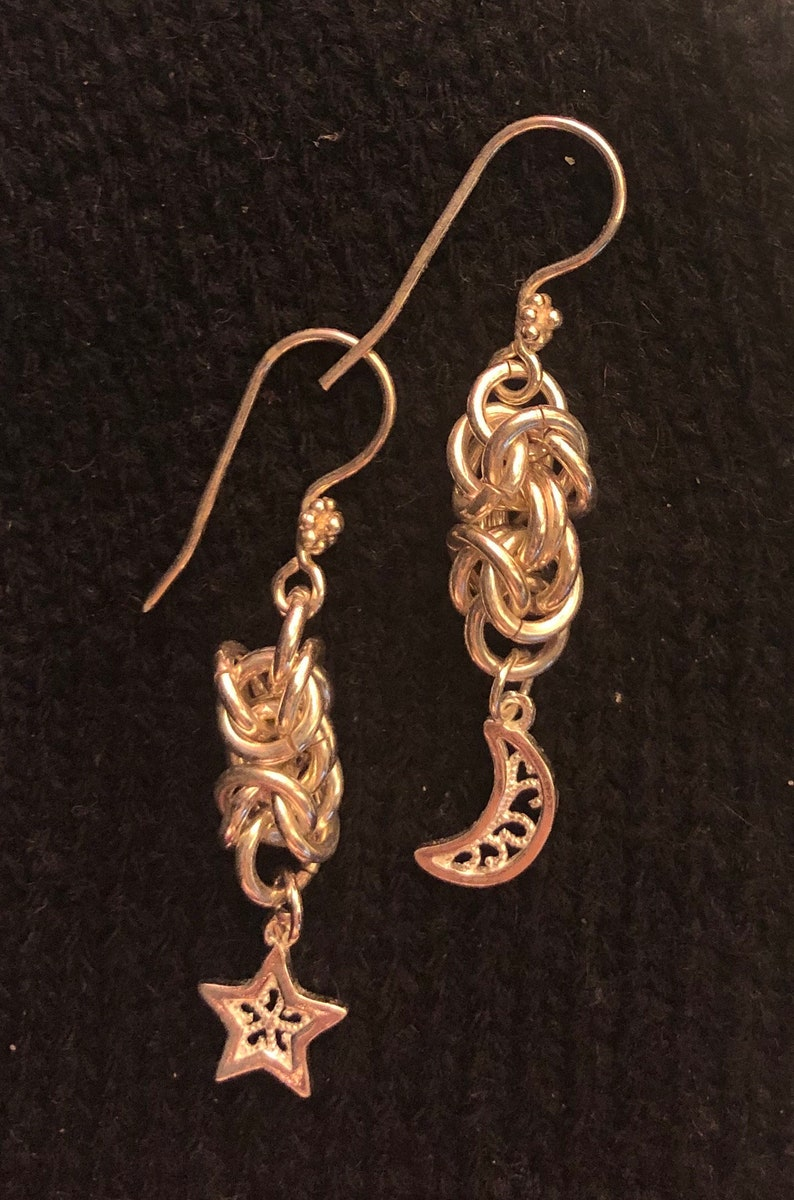 Sterling Silver star and moon chainmaille earrings