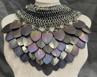 Stainless steel and anodized titanium scale necklace