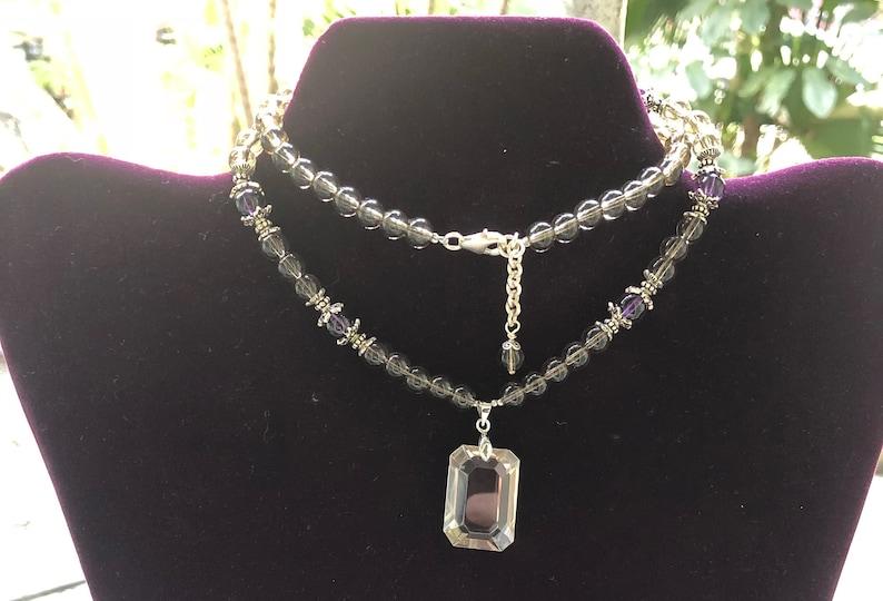Smokey quartz and amethyst necklace image 0