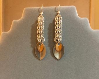 Sterling silver foxtail chain earrings