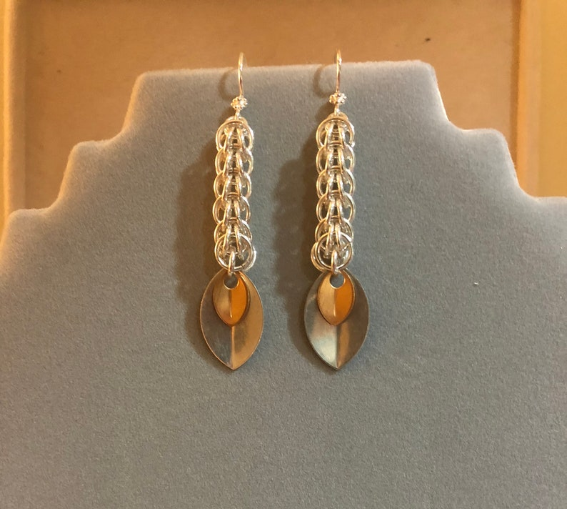 Sterling silver foxtail chain earrings image 0