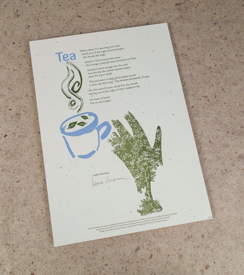 Letterpress Poetry Broadside  Tea by poet Leslie image 0