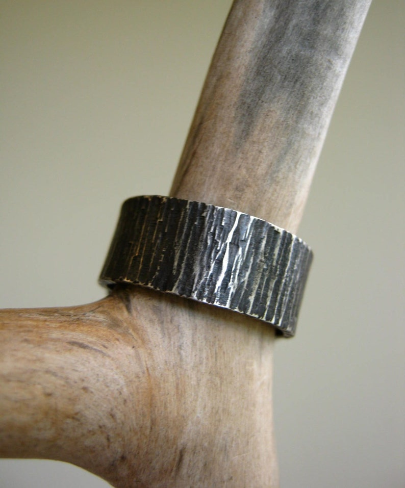 8mm Wide Band Birch Bark Ring Tree Bark Band Bark Textured Ring Wide Men/'s Band Silver Men/'s Ring Hammered Band Rustic Wedding Ring Silver