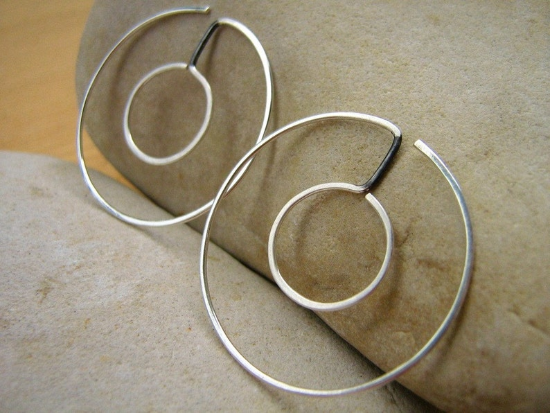 Small INFINITY Double HOOPS Reversible Round- sterling silver