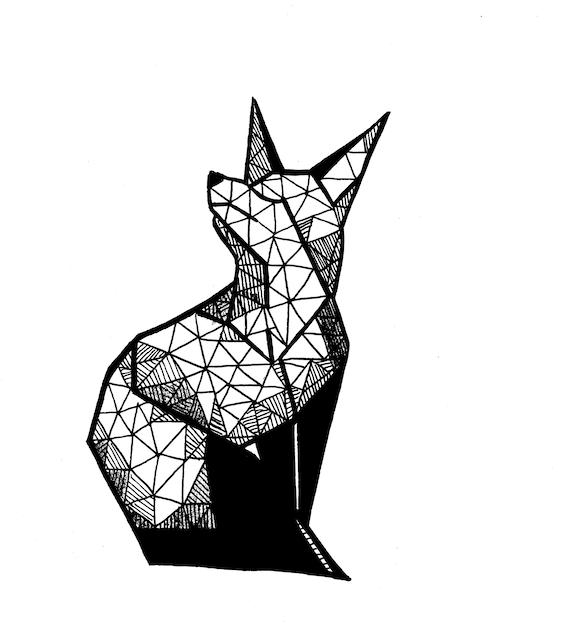 Dessin De Renard Geometrique Etsy