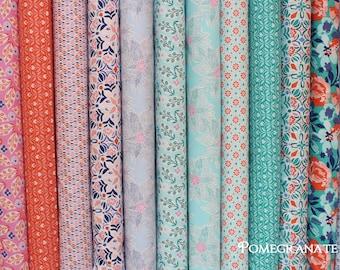 14 Half Yards  VOYAGE by KATE SPAIN  ... Moda Fabrics ... large fat quarter bundle pink, orange, turquoise, blue, floral and geometric