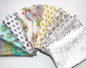 9 fat quarter bundle BUBBIES BUTTONS by Kori Turner Goodhart for Windham fabrics .. honey, floral, birds, text, buttons, purple, green, blue