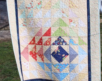 Catalina Throw Quilt, Lap Quilt ... triangle quilt ... blue, green, yellow, red, floral, cheery