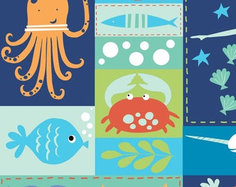 Sea Life Patchwork from UNDER THE Sea .. Monaluna .. GOTS certified organic cotton ... blue, red, green, sea creature, crab, fish, nautical