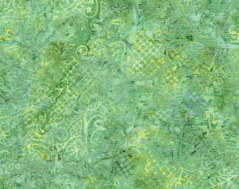 Celestial Blossoms in Green Batik ... by Batik Textiles ... Green, yellow, cream  3761