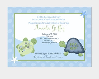 Turtle Reef Boy or Girl Baby Shower Invitation | under the sea | Printable File BS-108