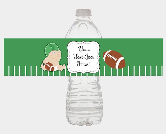 Football Water Bottle Labels Boy Baby Shower Or Birthday