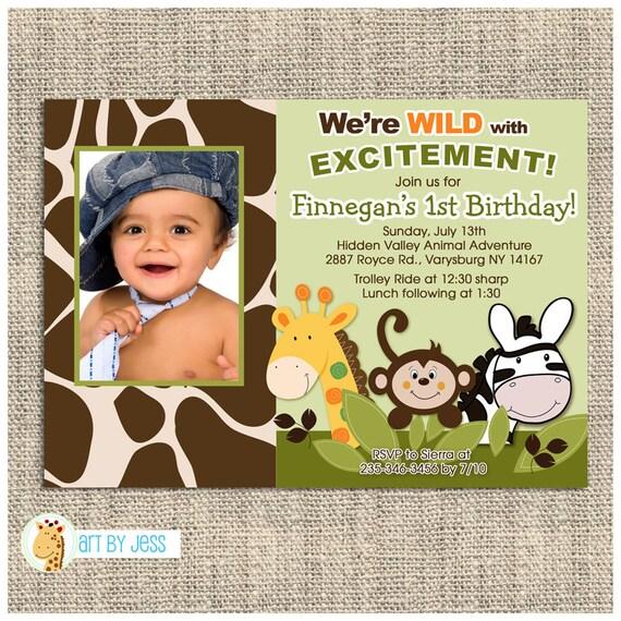 Jungle Safari Giraffe Monkey Zebra Theme Birthday Party Invitation JPG Printable Or Printed
