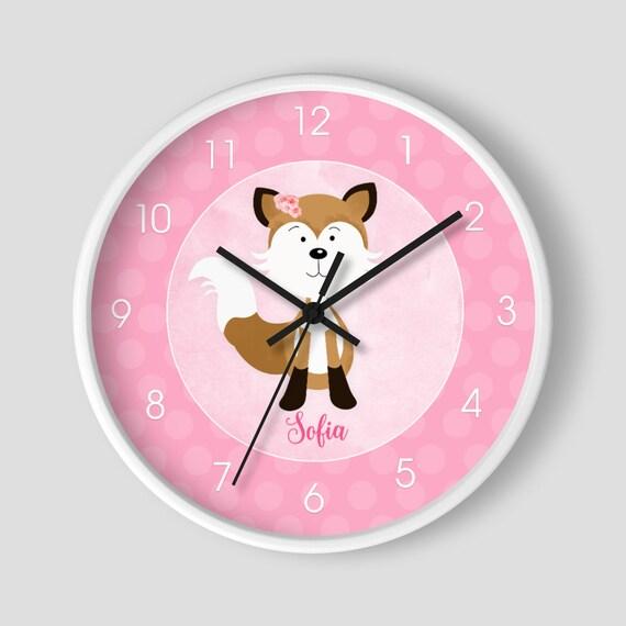 Teens Room Fox Watercolor Wall Clock Wall Clock Baby Room Kids Nursery Room