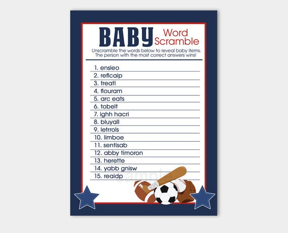 Sports All Star Navy Red Word Scramble Boy Baby Shower Game