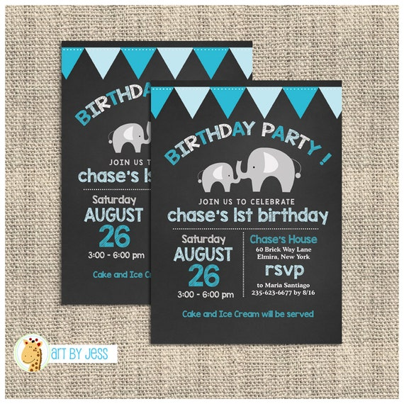 Mod Elephant Blue Boy Chalkboard Birthday Invitation 1st Or Any Age Printed Printable Bs 040
