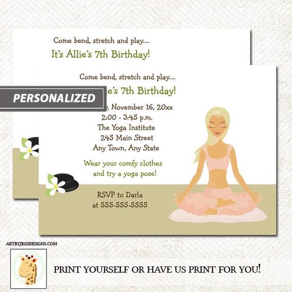 Yoga Madchen Jede Alter Geburtstag Partyeinladung Jpg Etsy