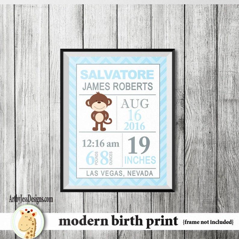 Modern Blue Monkey Baby Boy Birth announcement print Nursery Wall Print Custom Birth Statistic Wall Art Baby Shower Gift