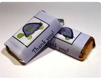 Turtle Reef Mini Candy Wrapper Stickers, Personalized Mini Candy Bar Stickers, Print your Own