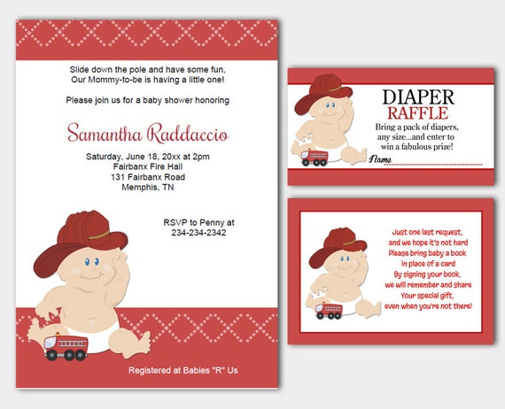 Baby Firefighter Fireman Baby Shower Invitation Diaper Etsy