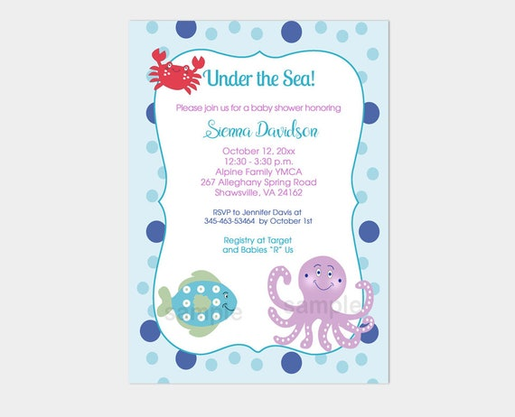 under the sea purple octopus red crab and fish baby shower