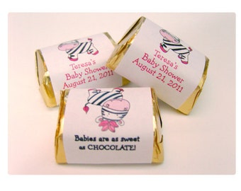 Pink Zebra Candy Wrapper Stickers, Personalized Hershey NUGGET Stickers for Zebra Baby Shower Or Zebra Birthday