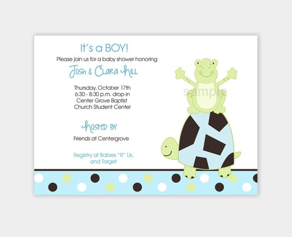 Pond frog and turtle boy or girl baby shower invitations print your il570xn filmwisefo