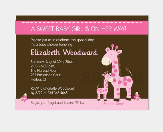 Pink Giraffe Girl Baby Shower Invitations Pink And Brown Etsy