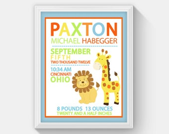 Lion and Giraffe Jungle Nursery Birth Announcement Personalized Baby Gift, Customized Wall Art Print