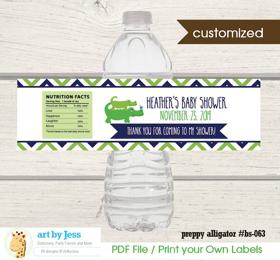 Preppy Alligator Water Bottle Labels Alligator Boy Baby Shower