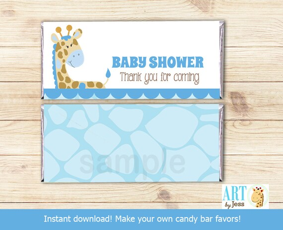 Blue Giraffe Jungle Baby Shower Hershey Candy Bar Wrapper