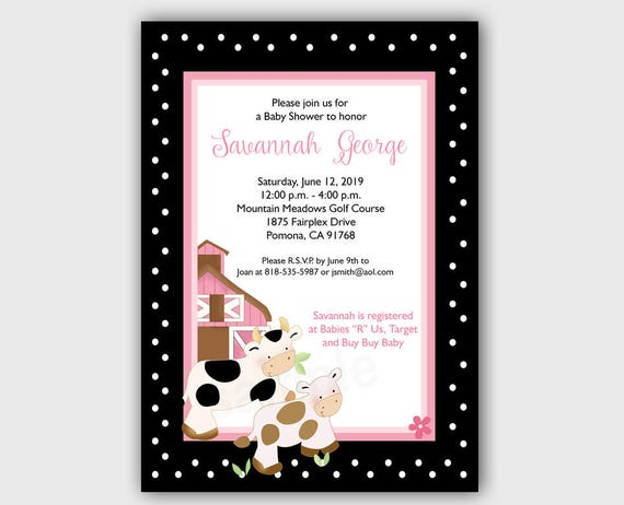 Baby Moo Moo Cow Farm Theme Girl Baby Shower Invitations Pink Cows
