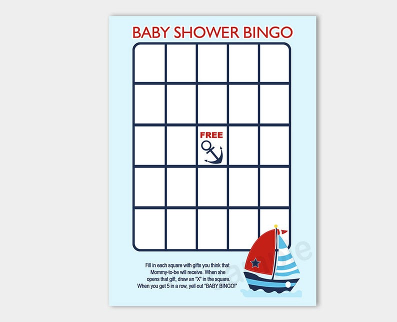 image relating to Printable Baby Shower Bingo known as Anchor and Sailboat Nautical Little one Shower Bingo Printable Kid Shower Match Quick Down load bs-006