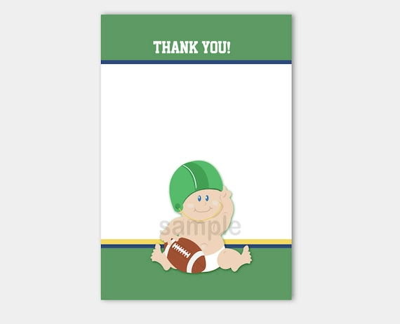 football baby sports matching flat card thank you note size etsy