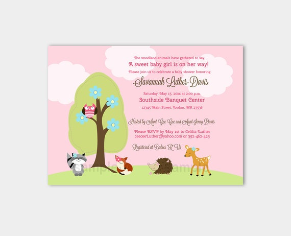 woodland nature deer girl baby shower invitation print your etsy