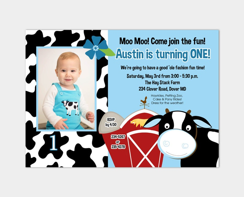 Cow Birthday Farm Invitation Boys 1st