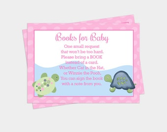 Pink Turtle Reef Baby Shower Books for Baby Book Request Enclosure Cards INSTANT DOWNLOAD bs-108