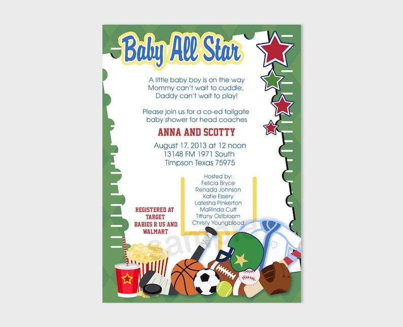 3b287899d1ddc Sports Fan Football Boy Baby All Stars Baby Shower Invitatons |  Personalized Digital File bs-091